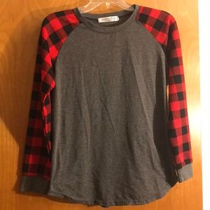 Long sleeve top flannel buffalo plaid sleeves